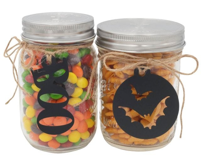 Halloween Boo and Bat Chalkboard Tags for Mason Jars by Jar Jewelry